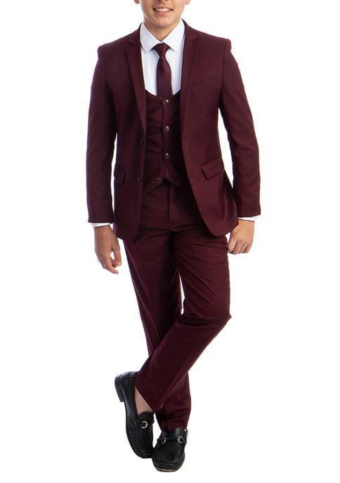 Boys 2-20 Burgundy Solid 5-Piece Suit