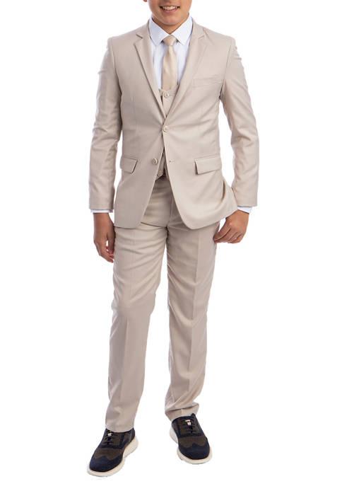 Boys 2-20 Light Tan Solid 5-Piece Suit