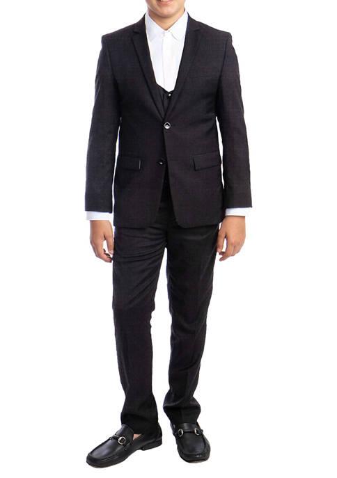 Boys 4-20 Dark Gray 3-Piece Textured Suit