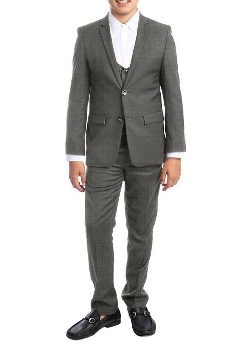 Boys 4-20 Light Grey 3-Piece Textured Suit