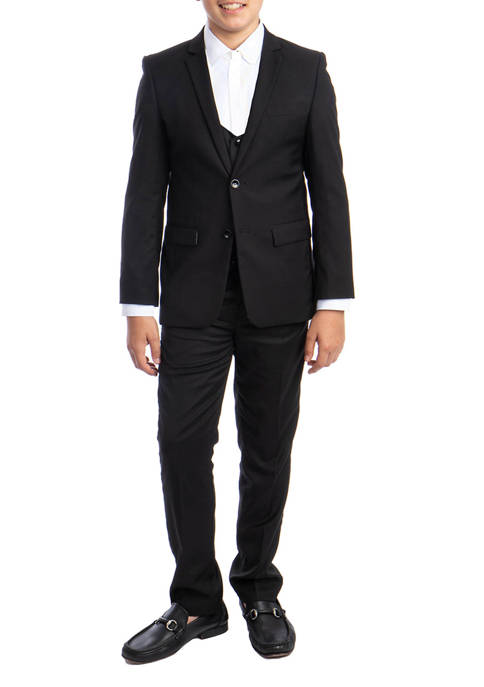 Perry Ellis® Boys 2-20 Black 3-Piece Solid Suit
