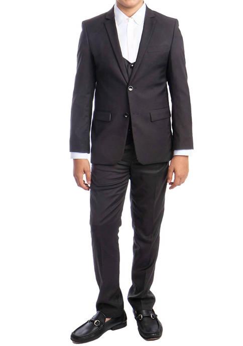 Boys 2-20 Dark Grey 3-Piece Solid Suit