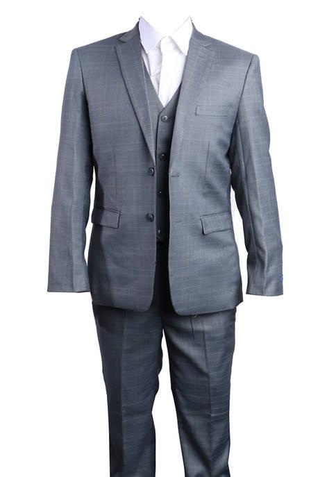 Boys 4-20 Dark Gray 3-Piece Glen Plaid Suit