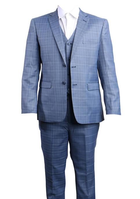 Boys 4-20 Blue 3-Piece Glen Plaid Suit