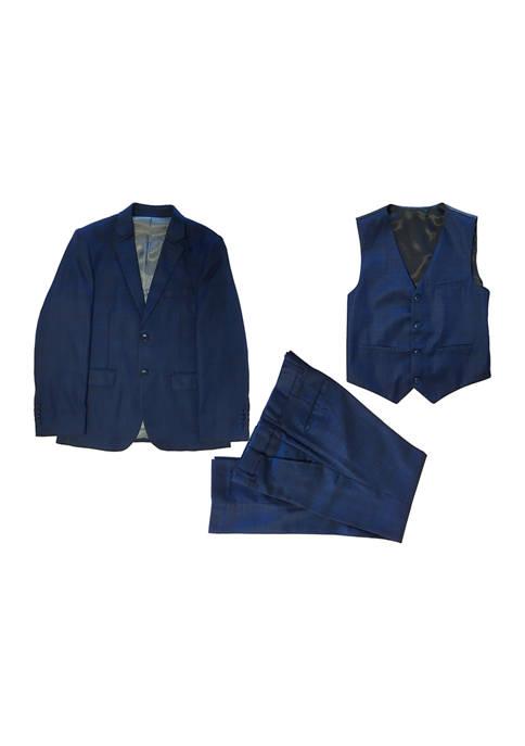 Boys 4-20 Navy 3-Piece Glen Plaid Suit