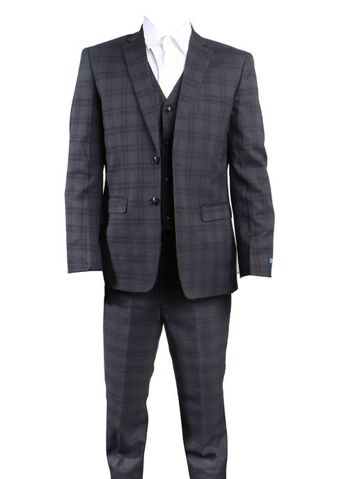 Perry Ellis® Boys 4-20 Black 3-Piece Windowpane Suit