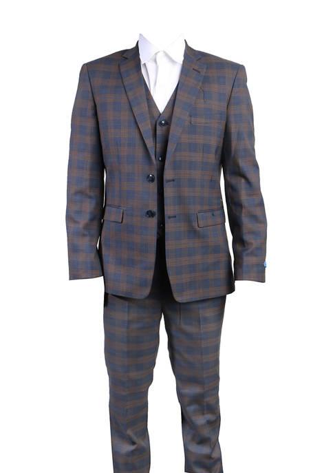 Boys 4-20 Navy 3-Piece Windowpane Suit