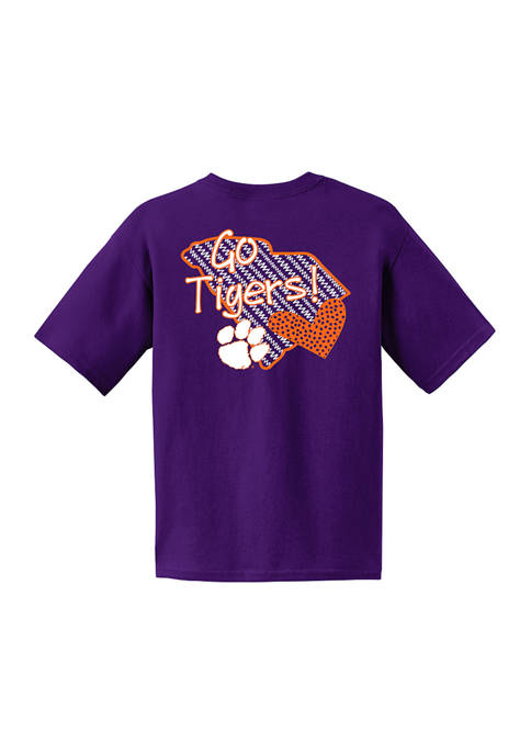Youth NCAA Clemson Tigers Short Sleeve Pattern Heart Graphic T-Shirt