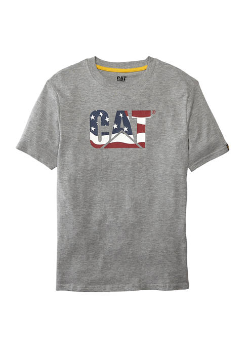 Caterpillar Boys 8-20 Custom Logo Flag Graphic T-Shirt