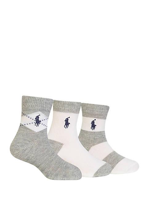 Ralph Lauren Childrenswear 3-Pack Argyle Socks