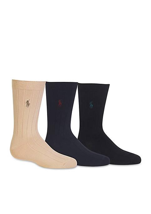 Ralph Lauren Childrenswear 3-Pack Ribbed Dress Sock Boys