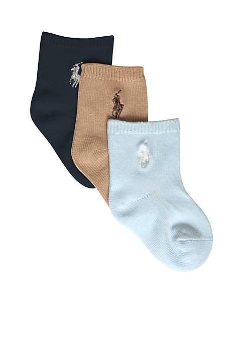 Ralph Lauren Childrenswear 3-Pack Flat Knit Socks