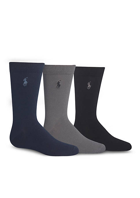 Ralph Lauren Childrenswear 3-Pack Super Soft Solid Socks