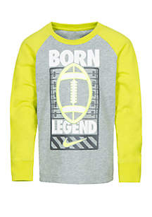 Nike® Boys 4-7 Long Sleeve Sports Verbiage Cotton Raglan Tee