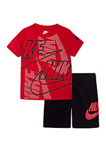 Nike® Boys 4-7 Futura Short Sleeve Tee and Sueded French Terry Short Set