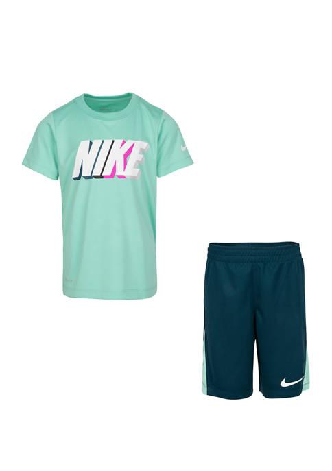 Nike® Boys 4-7 Block Short Set