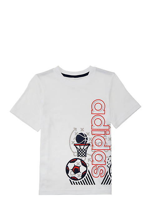 adidas Boys 2-7 Short Sleeve Linear Collage Wrap
