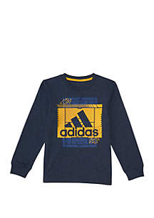 adidas Boys 4-7 Long Sleeve Heather Field Court Tee
