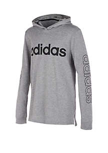 adidas Boys 4-7 Heather Hooded Linear Tee