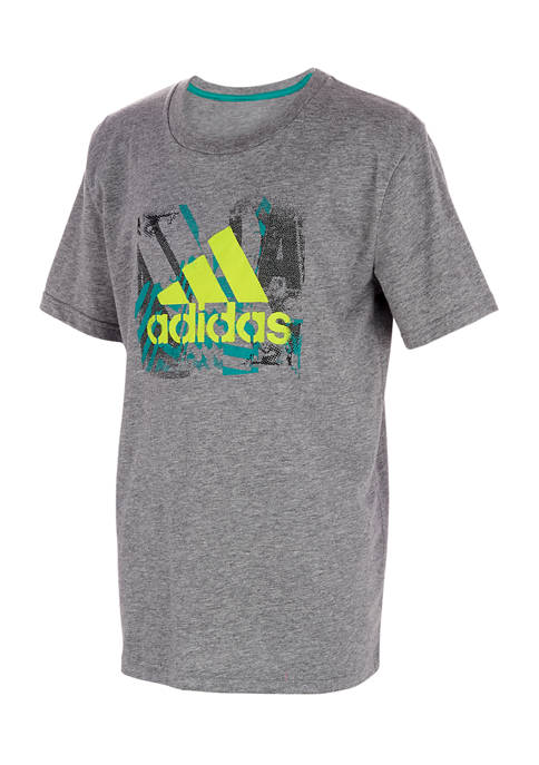 adidas Boys 8-20 Stencil Art Heather Graphic T-Shirt