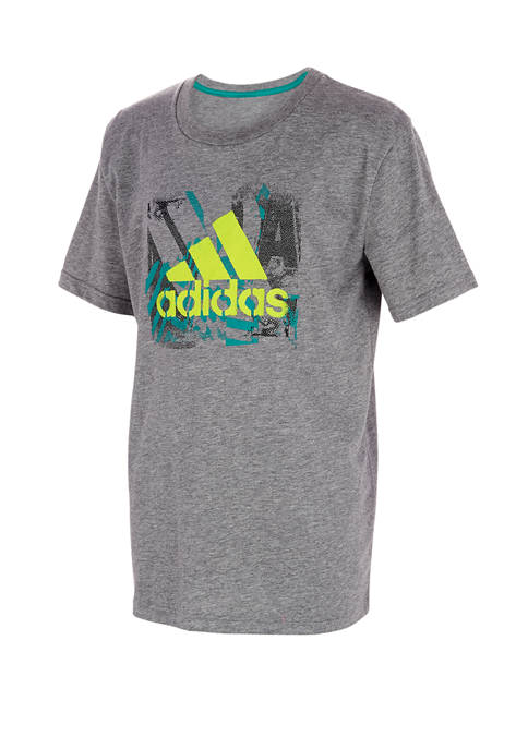 adidas Boys 4-7 Short Sleeve Stencil Art Heather