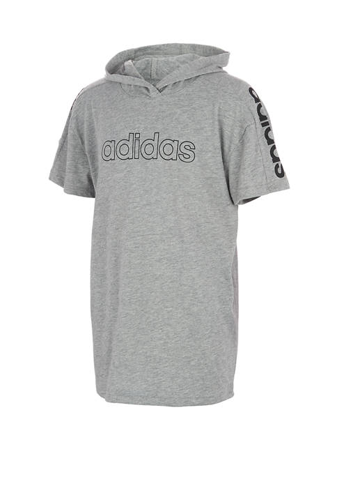 adidas Boys 8-20 Short Sleeve Heather Hooded Graphic