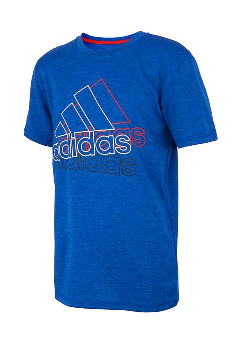 adidas Boys 8-20 Short Sleeve Layered Line T-Shirt