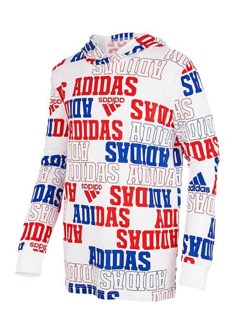 adidas Boys 8-20 Long Sleeve Collegiate Hooded T-Shirt