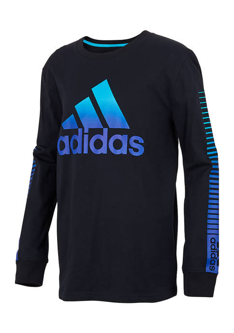 adidas Boys 8-20 Long Sleeve Split Logo T-Shirt