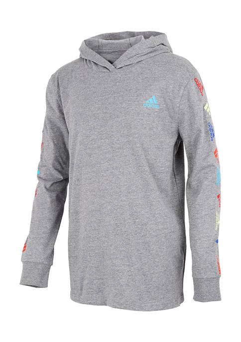 adidas Boys 4-7 Long Sleeve Heather Hooded T-Shirt
