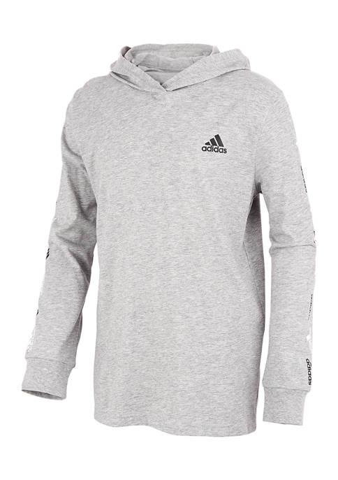 adidas Boys 8-20 Long Sleeve Heather Hooded T-Shirt