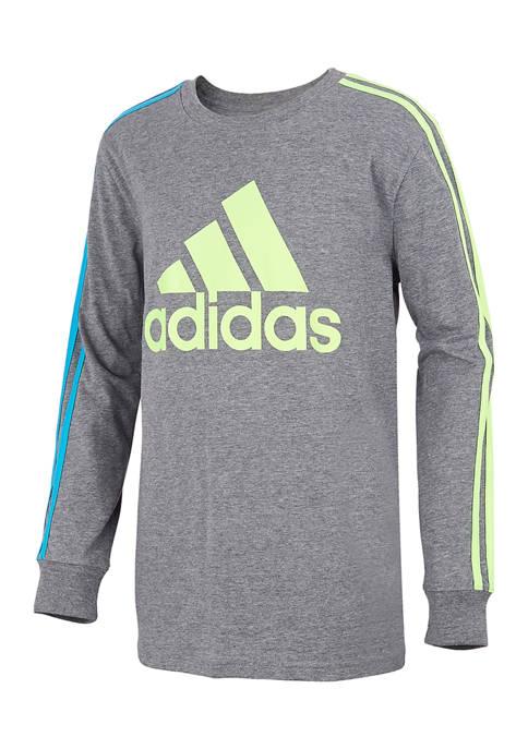 adidas Boys 8-20 Long Sleeve Heather Stripe T-Shirt