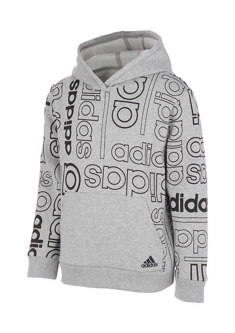 adidas Boys 4-7 Grid Print Hooded Pullover