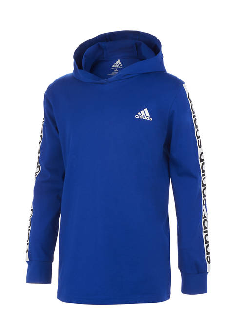 adidas Boys 8-20 Long Sleeve Linear Graphic Hooded