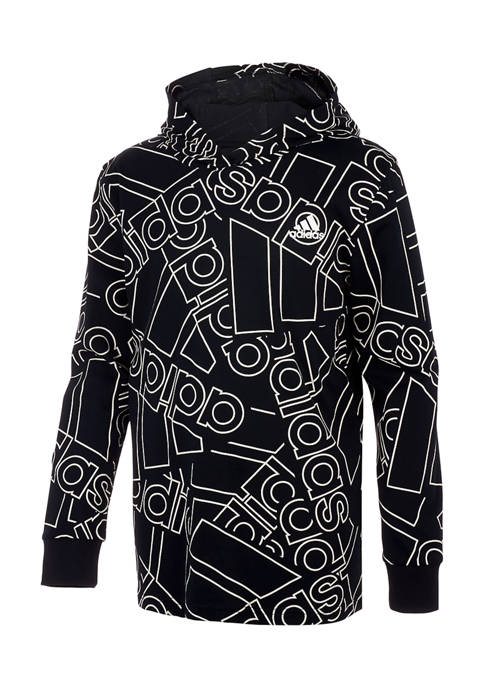 adidas Boys 8-20 Long Sleeve Allover Logo Hooded
