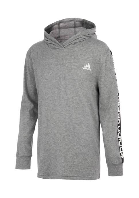 adidas Boys 8-20 Long Sleeve Linear Hooded Pullover