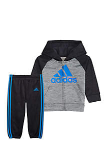 adidas Boys 4-7 Long Sleece Mélange Fleece Set