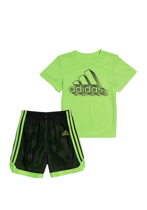 adidas Boys 4-8 Graphic T-Shirt and Mesh Shorts