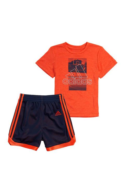 adidas Boys 4-8 Graphic T-Shirt and Mesh Shorts