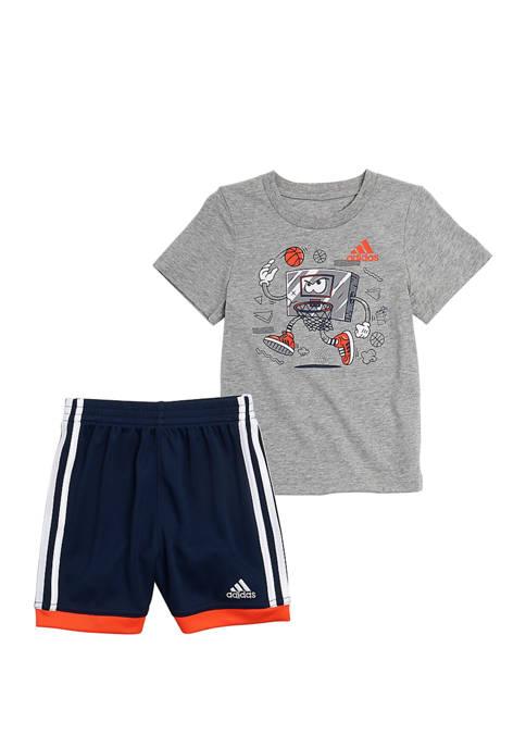 adidas Boys 4-8 Graphic T-Shirt and Shorts Set