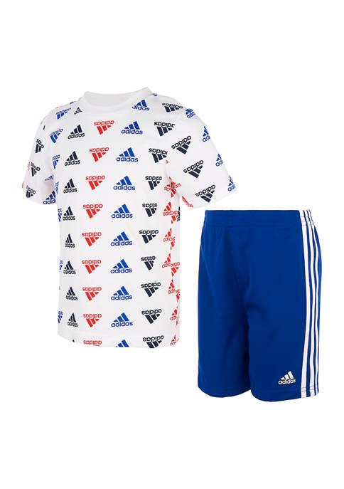 adidas Boys 4-7 Allover Print Brand Love Set