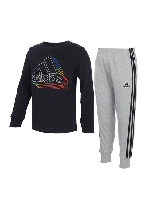 adidas Boys 4-7 2 Piece Cotton T-Shirt and