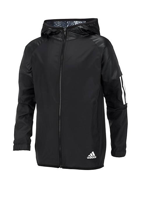adidas Boys 8-20 Solid Woven Hooded Jacket