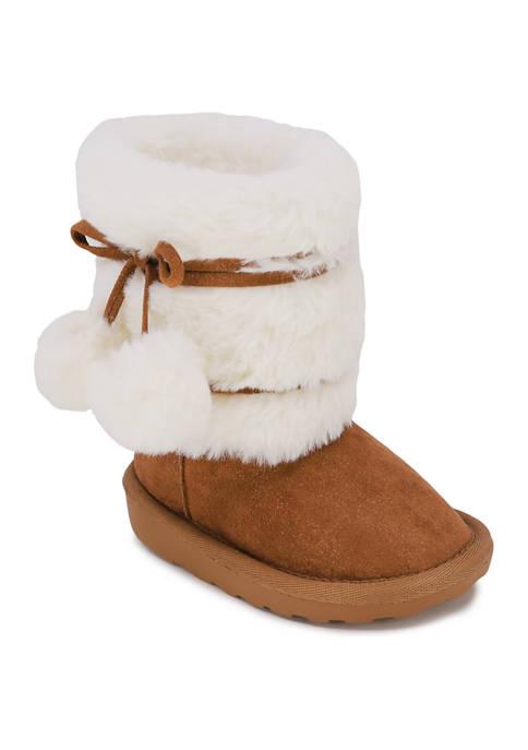 Youth Girls Pom Pom Fur Boots