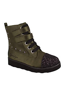 Girls Olive Satin Boots