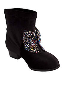 Girls Black Velvet Boots