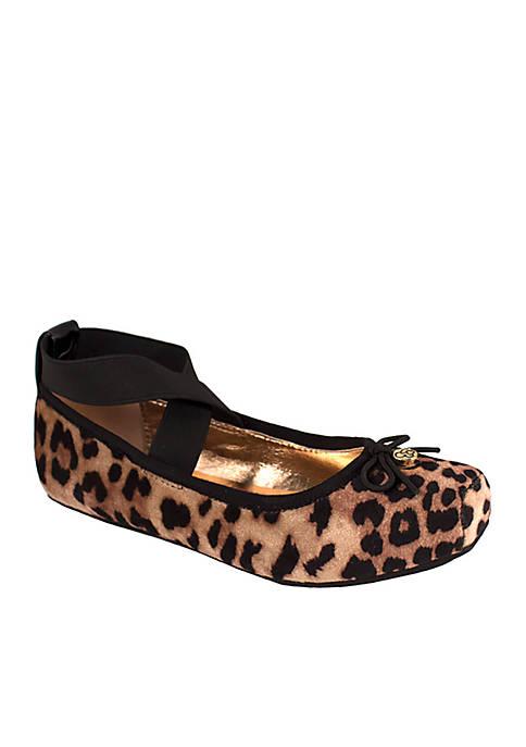 Jessica Simpson Toddler Girls Cream Leopard Velvet Shoes