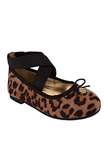 Youth Girls Cream Leopard Velvet Shoes