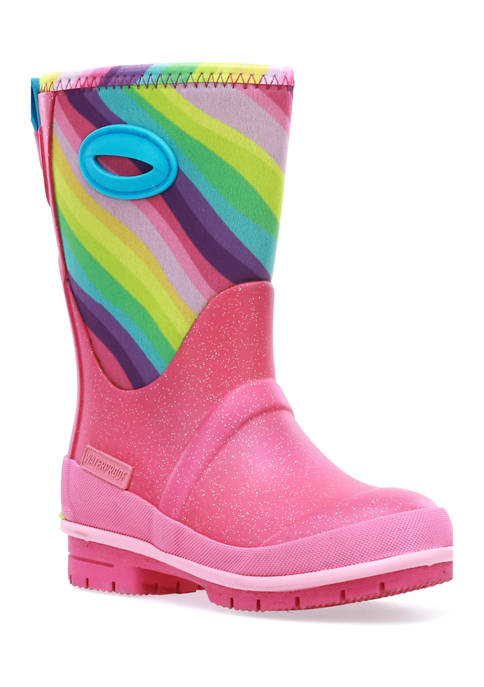 Western Chief Toddler/Youth Girls Glitter Rainbow Neoprene Boots