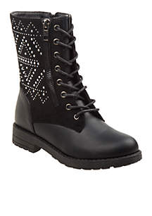 Toddler/ Youth Girl's Side Stud and Zip Combat Boot